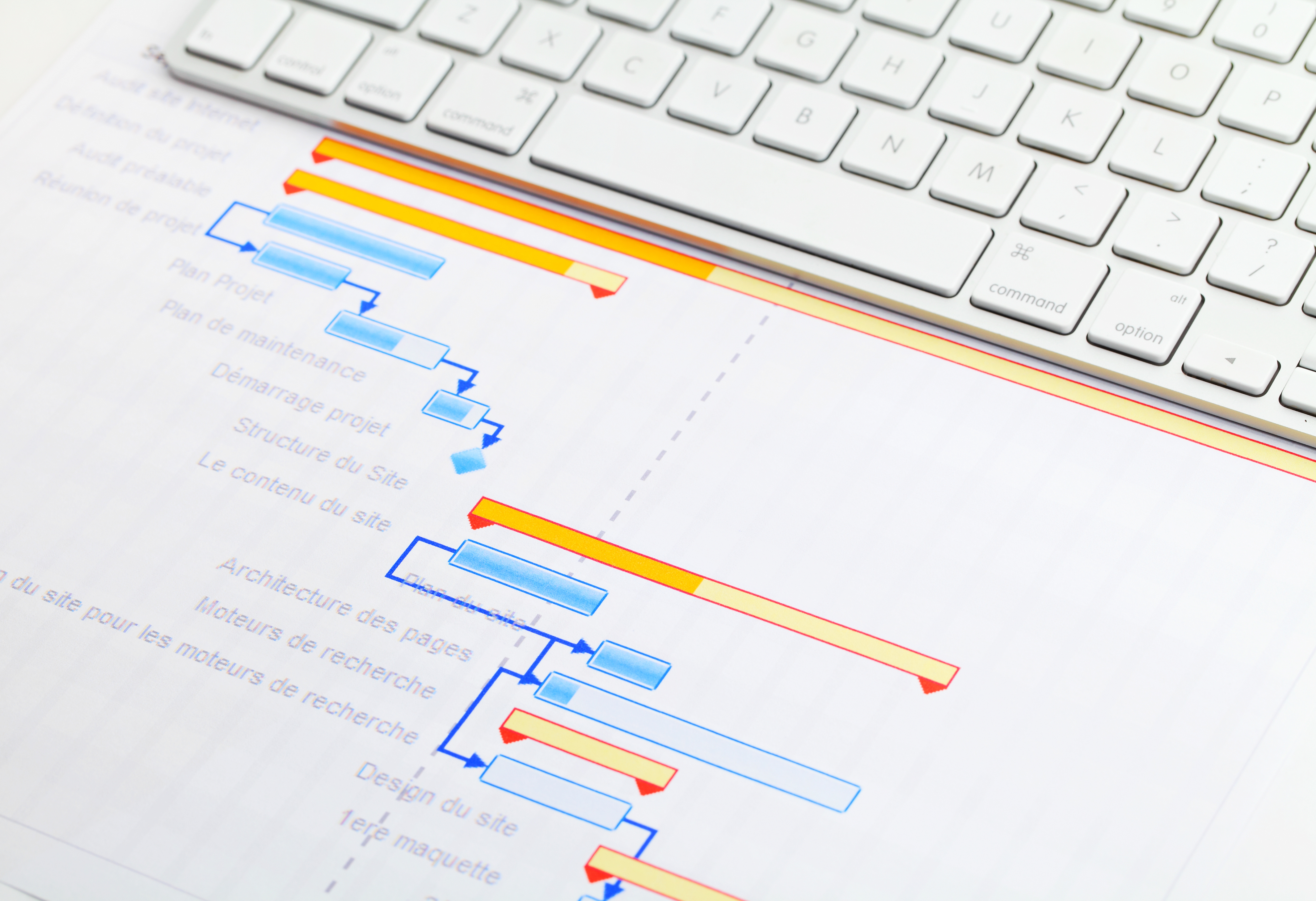 View of project phases and work packages in a project management software